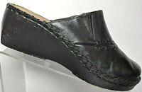Duck Head Womens Black Leather Comfort Slip On Slides Wedge Clogs Brazil 6.5 M