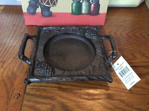 New Yankee Candle Jar Candle Tray Cast Iron Plate with Handles Pinecone Heavy