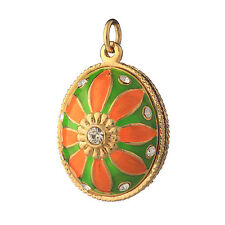 Faberge Egg Pendant / Charm with Flower 2.3 cm #P6-03
