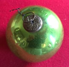 Large Antique 19th century Mercury Glass Kugel Christmas Ornament Green