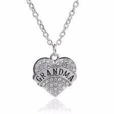 Crystal Rhinestone Love Heart Engraved Silver Pendant Necklace Mum Family a White Grandma