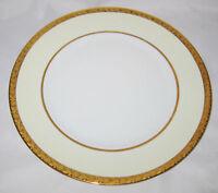 "Hutschenreuther - White Center, Ivory Border, Gold Floral Trim, 10"" Dinner Plate"