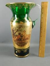 VINTAGE VENETIAN GREEN GLASS GILDED FIGURAL COURTING COUPLE SCENE WATER PITCHER