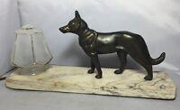 Vintage French Spelter & Marble Art Deco Alsatian German Shepherd Dog Lamp Light