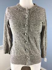 Banana Republic Cashmere Wool Blend Gray Animal Print Cardigan Sweater M 3/4 slv