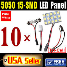 10X White LED 5050 15SMD Panel Festoon T10 BA9S Adapter Interior Dome Map Light