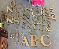 Vintage STORE FRONT LETTERS ADVERTISING SIGN 56 Piece Lot Gold Color Plastic
