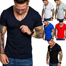 Oversize Herren Slim-Fit Long-Tee V-Neck Basic T-Shirt V-Ausschnitt 1-0006