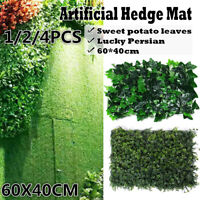 4PCS Artificial Ivy Leaf Hedge Mat Fence Fake Plant Foliage Grass Wall Panel