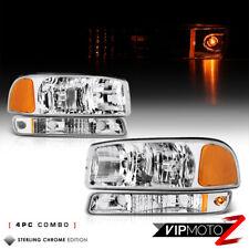 [4PC COMBO] 2000-2006 GMC Sierra Yukon *Factory Style* Headlights Bumper Lamps