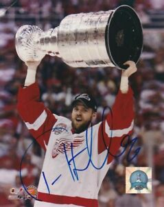TOMAS HOLMSTROM SIGNED DETROIT RED WINGS STANLEY CUP 8x10 PHOTO #2 Autograph