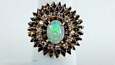 Vintage 14k Yellow gold Top quality Opal & diamond ballerina ring black enamel