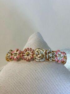 Kenneth Jay Lane Pink & White Enamel Flower Bracelet Never Worn