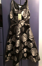 Monsoon Black Satin Silver Floral Fit & Flare Dress Size 6 UK BNWT NEW With Tags