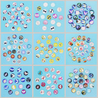 50PCS Round Glass Dome Cabochon Flatback Cameo Angel Crown Ribbon Crafts 10-30MM