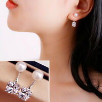 Beand New 1Pair Women Girl  Pearl Zircon Silver Plated Ear Stud Earrings Jewelry