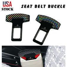 2x Universal Car Safety Seat Belt Buckle Alarm Stopper Clip Carbon Fiber Clamp