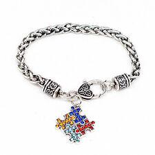 Autism Rhinestone Bracelet  Bracelet Rope Bangle Bracelet Twist Chain Wrist OJ
