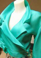 Giacchina verde tiffany in organza di seta pura lievemente vintage doppiopetto