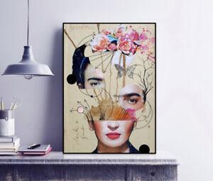 Frida Kahlo Portrait Collage Print / Surrealism Style / Modern Art / Wall Decor