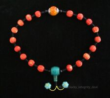 Rare Chinese Old Red Coral Turquoise Hand Carved Beads Necklace