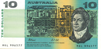 Australian Last $10 MQL 996577 Fraser Cole Non PIL variety  Banknote Issue r313b