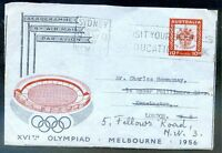 AUSTRALIA OLYMPIC Airletter Aerogramme to Great Britain 1956 Resent