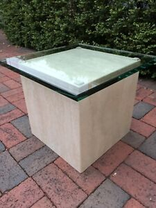 marble pedestal accent table with beveled glass top
