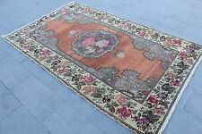 "Vintage Handmade Turkish Anatolian Oushak Red Area Kitchen Rug 250x150cm,98""x59"""