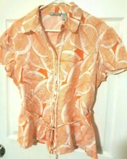 Sherry Taylor Peasant Shirt XL Orange Button up Belted Linen Tropical Blouse