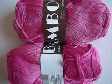 MeiMei Bamboo 100% bamboo yarn, Fuchsia (hot pink), lot of 2 (181 yds each)