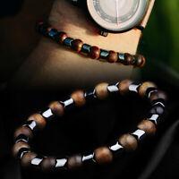Bracelet Men 8MM Sandalwood Natural Stone Hematite Beaded Bracelets Jewelry