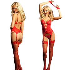 Women Lady Red Sexy Lingerie Lace Dress/G string/Handcuff/Garter Belt/Stockings