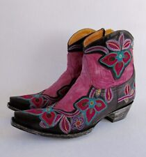 Old Gringo Marrione Pink Embroidered Leather Western Ankle Boots 9.5