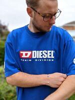 Vintage Diesel XXL Blue T-shirt Men's Spellout Logo Denim Division Short Sleeve