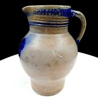"STONEWARE SALT GLAZED POTTERY BLUE FLORAL & STRIPED 6 1/2"" PITCHER JUG 1880-1920"