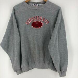 Olympus Crewneck Sweater Men's L Gray Cincinnati Bearcats Vtg 90s Embroidered