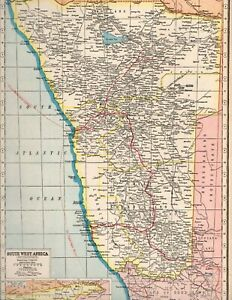c1920 map of South-West Africa with parts of Angola & Bechuanaland & COGH- SALE