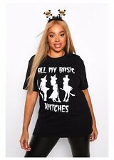 """Boohoo Plus Black """"All My Basic Witches"""" Slogan Tee Size 18"""