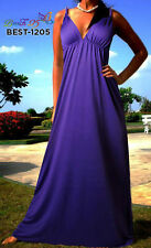 Polyester V Neck Casual Maxi Dresses for Women