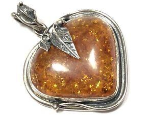 Gorgeous Vintage Sterling Silver Heart Shape Amber Leaf Design Pendant Necklace