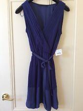 Zara Women's Blue Faux Wrap Belted Dress In Size L, - BNWT