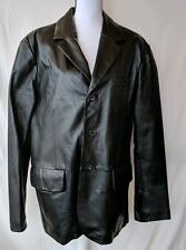 Men's Excelled Black 100% Leather Long Jacket Coat Sz M