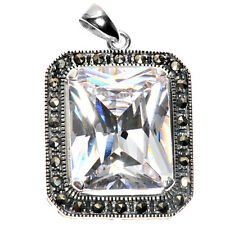 Clear CZ Pendant with Marcasite Sterling Silver 925 Vintage Style Jewelry 48 mm