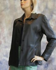 GAP Black Leather Lined Jacket S Princess Seams Button Up Pockets Peace Symbol