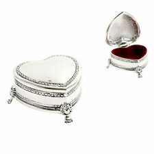 Trinket Box Footed Heart Shape Antique Design Silver Plated Velvet Engraved Free