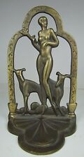 Orig Old Art Deco Nude Beauty Greyhounds Decorative Art Bookend Cast Iron BrassW