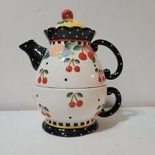 Mary Engelbreit Teapot Red Cherries Raised Design Oh So Breit Polka Dots Cup