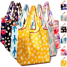6 Pack Cactus Reusable Grocery Shopping Fabric Bags Packable & Machine Washable