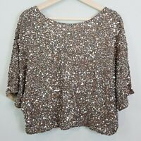 [ VINCE ] Womens Cluster Sequin Raglan Cropped Top NEW   Size M or AU 12 / US 8